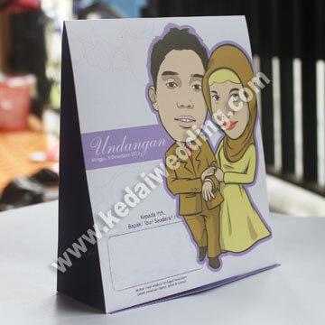 undangan pernikahan dengan karikatur kartun